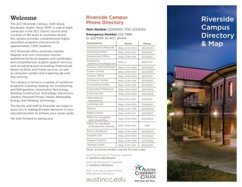 Riverside City College Campus Map.Riverside Campus Directory Map Austin Community College