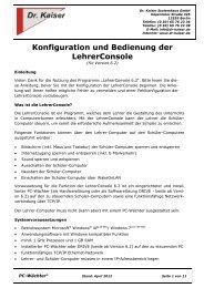 Konfiguration und Bedienung der LehrerConsole - Dr. Kaiser ...