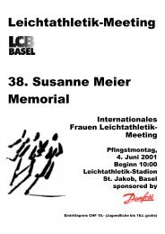 Situationsplan Leichtathletikstadion St. Jakob - LC Basel