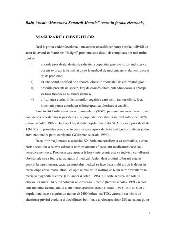 MASURAREA OBSESIILOR - Dr. Radu Vrasti, MD, PhD