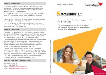 Workshops information leaflet - Edinburgh Napier University