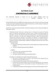 DaTARIUS GmbH CONFIDENTIALITY AGREEMENT