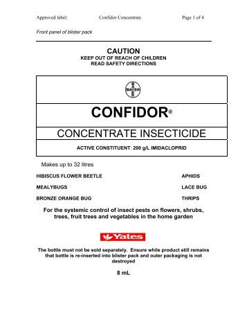 Yates Confidor Lawn and Garden Insecticide MSDS