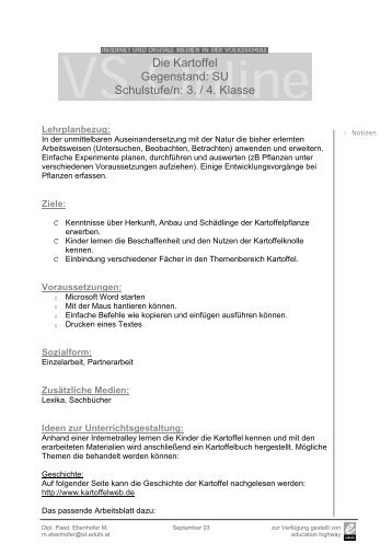 Die Kartoffel Gegenstand: SU Schulstufe/n: 3. / 4. Klasse