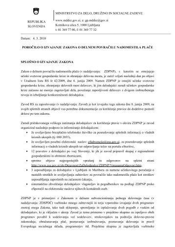 poročilo o izvajanju ukrepa - Ministrstvo za delo, družino in socialne ...