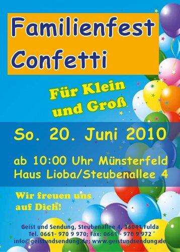 Familienfest Confetti - Geist und Sendung