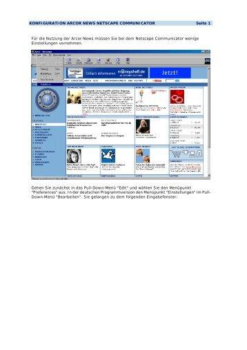 KONFIGURATION ARCOR NEWS NETSCAPE COMMUNICATOR ...