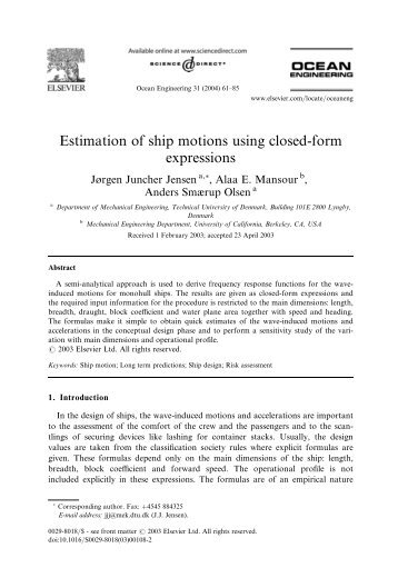 Estimation of ship motions using closed-form expressions