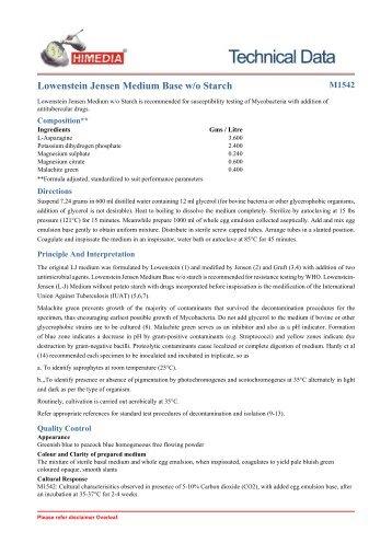 Lowenstein Jensen Medium Base w/o Starch - HiMedia Laboratories