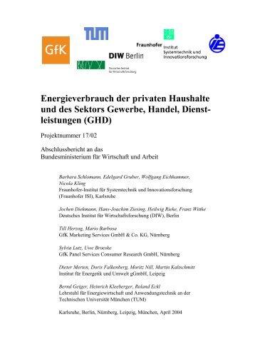 Energieverbrauch der privaten Haushalte und des Sektors Gewerbe ...