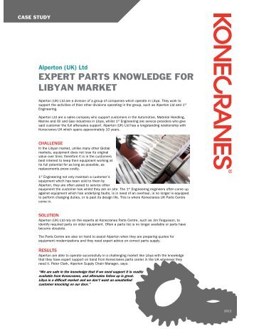 EXPERT PARTS KNOWLEDGE FOR LIBYAN MARKET - Konecranes