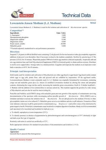 Lowenstein Jensen Medium (L.J. Medium) - Himedia Laboratories