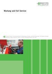 Wartung und Full Service - PRESTO GmbH & Co KG