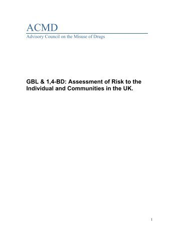 GBL & 1,4-BD: Assessment of Risk to the Individual ... - Home Office