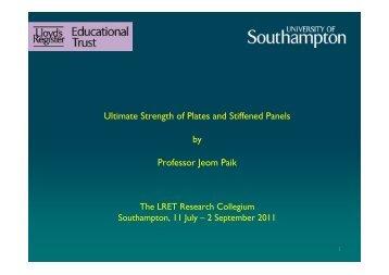 Ultimate Strength of Stiffened Panels - University of Southampton