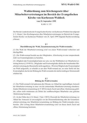 Wahlordnung zum Kirchengesetz über Mitarbeitervertretungen im ...