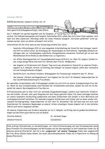 Elternbrief Nr.4 vom 28. Februar 2012 - Gymnasium Geretsried