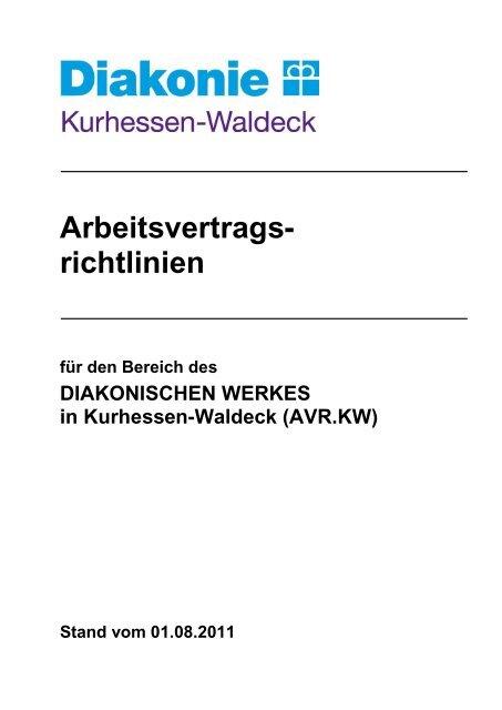 Arbeitsvertrags- richtlinien - Diakonisches Werk in Kurhessen-Waldeck