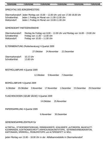 Termine 4. Quartal 2009 - Schrattenthal