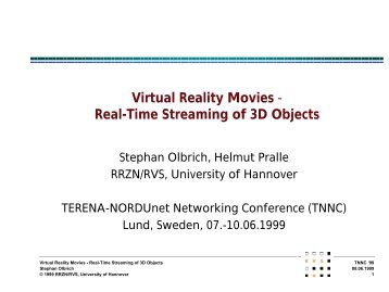 Virtual Reality Movies - Real-Time Streaming of 3D Objects - DoCIS