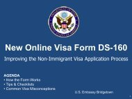 New Online Visa Form DS-160 - Embassy of the United States ...
