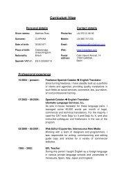 Curriculum Vitae - the website of Matthew Clapham Language ...