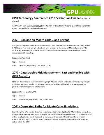 GPU Technology Conference 2010 Sessions on Finance (subject to ...
