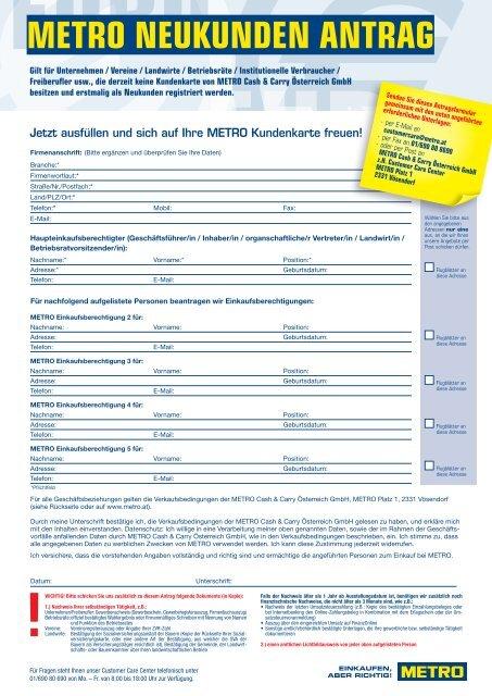 METRO Kundenkartenantrag