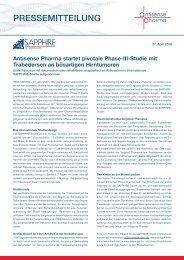 Antisense Pharma startet pivotale Phase-III-Studie mit Trabedersen an