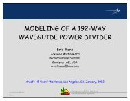 Presentation - Modeling of a 192-Way Waveguide Power Divider