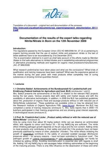 Documentation of the results of the expert talks regarding Nitrite ...