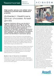 Sector - Ansell Healthcare Europe
