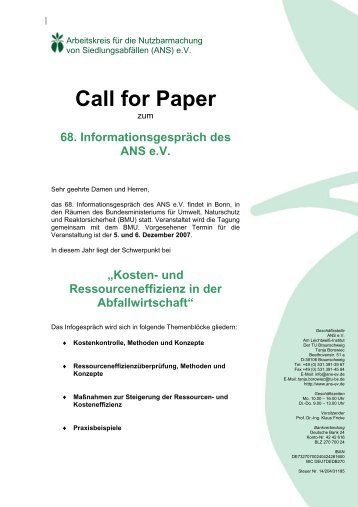 Call for Paper - ANS eV