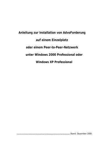Anleitung zur Installation von AdvoForderung auf einem ... - AnNoText
