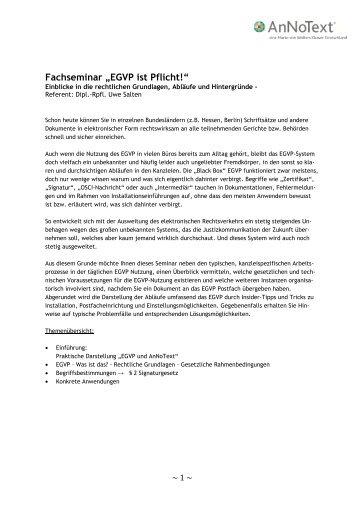 """Fachseminar """"EGVP ist Pflicht!"""" - AnNoText"""