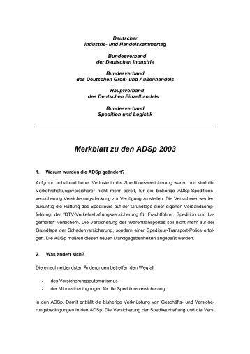 Merkblatt zu den ADSp 2003 - Topsped