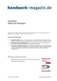 Checkliste Ablauf bei Montagen - Handwerk Magazin
