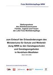 zum Entwurf der Erlassänderungen des Ministeriums ... - Caritas NRW
