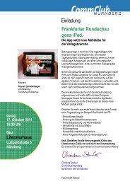 Einladung Frankfurter Rundschau goes iPad. - CommClubs Bayern