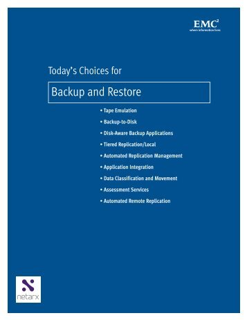 Today's Choices for Backup and Restore - Netarx