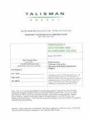 Emergency Shutdown and Blowdown Valves - Talisman Energy Inc.