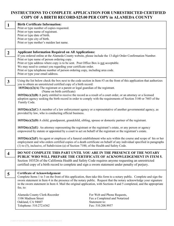 Summary Instructions For Requesting A Copy Of A Birth Or Death Record
