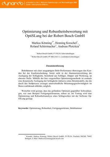 Optimierung und Robustheitsbewertung mit ... - Dynardo GmbH