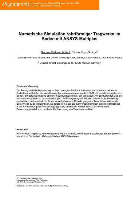 Numerische Simulation rohrförmiger Tragwerke im ... - Dynardo GmbH