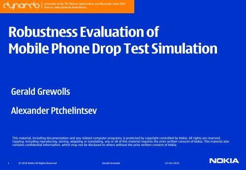 Robustness Analysis of a mobile Phone