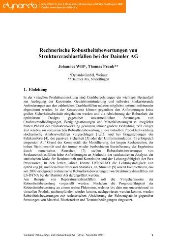 Rechnerische Robustheitsbewertungen von ... - Dynardo GmbH