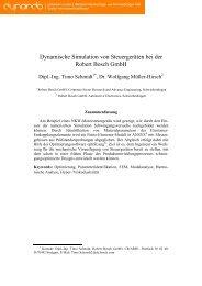 Dynamische Simulation von Steuergeräten bei der ... - Dynardo GmbH
