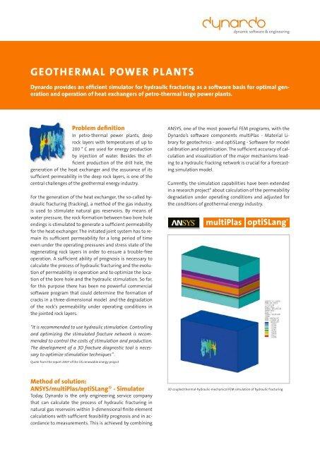 GeotherMAL Power PLANtS - Dynardo GmbH