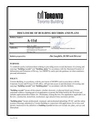 disclosure of building records and plans - City of Toronto