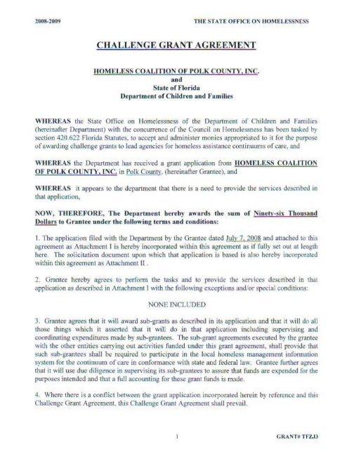 challenge grant agreement - Homeless Coalition of Polk